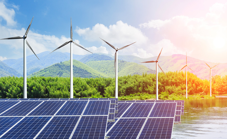 Solar air conditioning and wind turbines